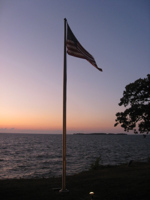 Flag at sunset on Put-in-Bay