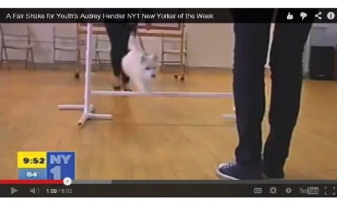 Jumping to celebrate Audrey Hendler as NYer of the week