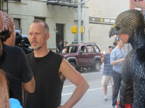 Michael Keaton on set