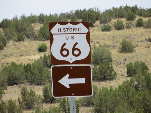 Signs leading us to Seligman, Arizona