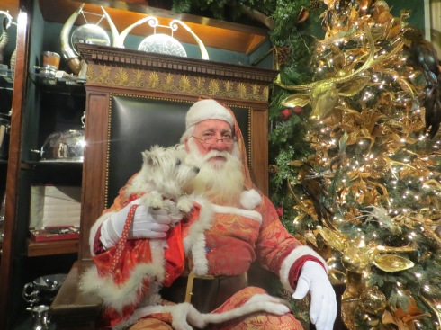 Sitting with Santa at Bergdorf Goodman